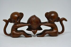 Vintage Chinese Carved Wood Monkey Figurine 6 Inches Long