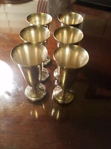 Antique Alvin S247 Sterling Silver Footed Cordial Cup Shot Glass Set Of 6