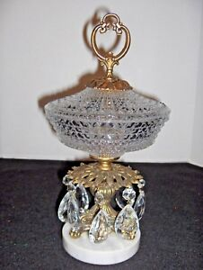 Vtg Antique Crystal Candy Dish W Lid Claw Footed Marble Base Teardrop Prism