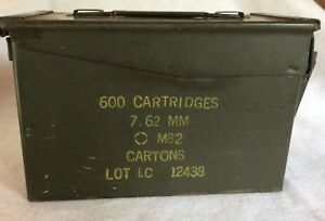 Vintage Military Metal Ammo Box 600 Cartridges 7.62MM M82 Empty Storage