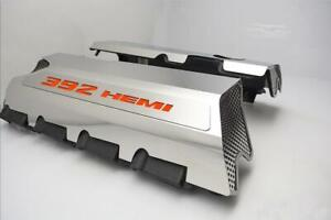 Polished Fuel Rail Covers W Orange Inlay For 2011 2014 Srt 8 6 4 392 Engines
