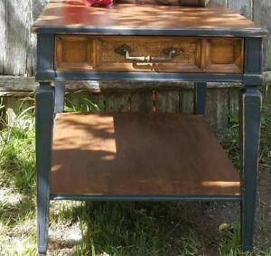 Beautiful Refinished Burl Wood Vintage Side Table With Small Cane Drawer