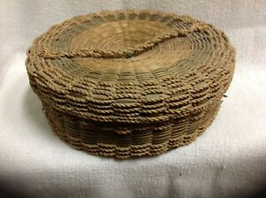 Antique Straw Woven Sewing Basket Unique