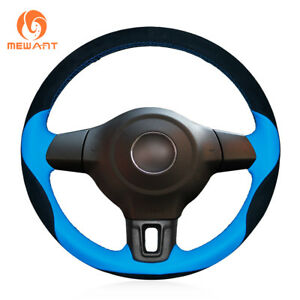 Black Suede Blue Leather Steering Wheel Cover For Volkswagen Golf 6 Mk6 Polo Mk5
