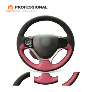 Black Suede Wine Red Leather Steering Wheel Cover For Honda Civic 9 2012 2015