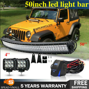 50 Inch 288w Led Light Bar Combo 4 Pods Off road Driving 4wd Suv Ute Truck