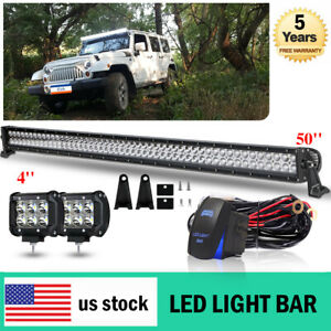 50inch 288w Led Light Bar Combo Driving Lamp 4wd Boat 4 Pods free Wires 48 52