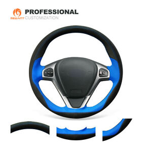 Black Suede Blue Leather Steering Wheel Cover For Ford Fiesta 2008 2013 Ecosport