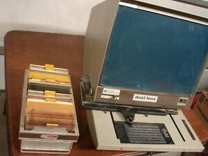 Vintage Micro Design Corporation Dual Lens Microfiche Reader Viewer C o m 1200