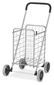 Rolling Utility Cart Folding With Wheels Collapsible Shopping Holder Heavy Duty