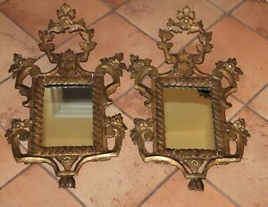 Antique Rococo Pair Hand Carved Wood Frames Mirrors Elaborate Scroll Foliate
