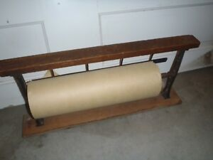 Rare Vintage Wooden Roller Paper Holder shop counter Top office Paper Roller Hol