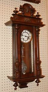 Tall Vienna Regulator Carved Walnut Wall Clock C1890 Great Original Condition