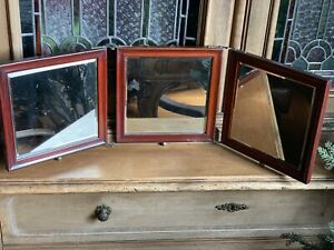 Antique Tri Fold Triple Wood Beveled Glass Nickle Traveling Folding Mirror
