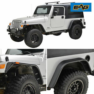Fender Flares 4pcs Abs Flat Style With Side Led For 97 06 Jeep Wrangler Tj