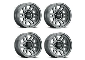 Set 4 16 Vision Manx 2 Overland 355 Satin Grey Wheels 16x8 5x4 5 0mm Truck Rims