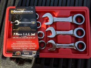 Gearwrench 9507d 7 Piece Sae Stubby Ratcheting Wrenches New