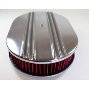 Mustang Cj Classics Air Cleaner Aluminum Dual Finned Oval 15 x2