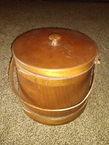 Antique Wooden Firkin Sugar Bucket With Lid Handle 7 1 2 X 7 1 2