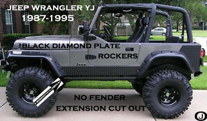 Jeep Wrangler Yj Powder Coated Aluminum Diamond Plate Rockers No Cut Out Set