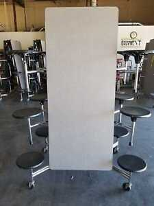 Refurbished Lunch Cafeteria Table Grey Top W 12 Black Stools 12 Ft adult Size