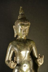 Vintage Large Thai Standing Bronze Buddha Figurine 23 Inches Tall