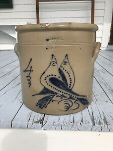 Big Antique Double Love Birds Blue Decorated Stoneware Crock American Folk Art
