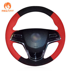 Black Red Suede Steering Wheel Cover For Cadillac Ats 2013 2015 Cts 2014 2016