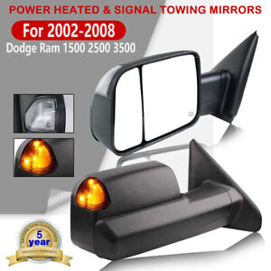Fit 02 08 Dodge Ram 1500 03 09 2500 3500 Power Heated Pair Tow Mirrors