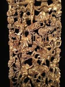 Big Antique Qi Ing Chinese Gilt Wood Carved Panel Battle Scene Wooden Carving 3