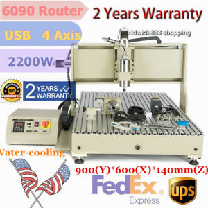 Usb 4axis Vfd 6090 Cncrouter Engraver 2200w Engraving 3d Milling Cutting Machine