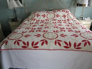 Vintage 1800s Red White Hand Stitched And Quilted Vegetable Dye Turkey Tracks