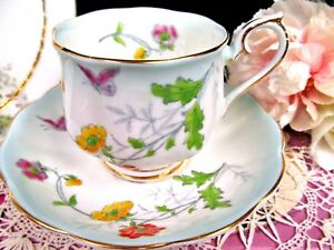 Royal Albert Tea Cup And Saucer Blossoms Butterfly Buttercup Blue Blush Teacup