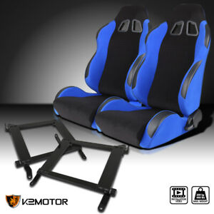 08 17 Mitsubishi Lancer Evo Black Blue Cloth Reclining Race Seats Brackets