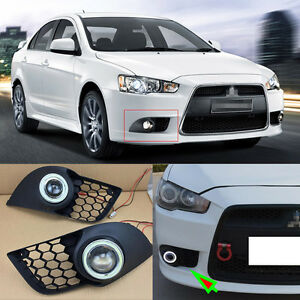 2x Mitsubishi Lancer ex Cob Angel Eyes Drl With Fog Lights Projector Lens Lamp