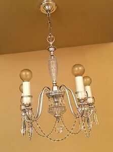 Vintage Lighting Rare Exquisite 1930s Crystal Chandelier