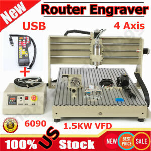 Usb 1500w Vfd 6090 4axis Router Engraver Carving Drilling Machine Controller