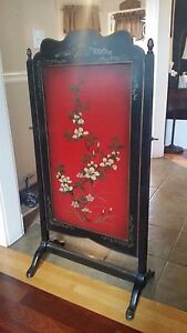 Antique Wood Fireplace Screen Red Black Hand Painted Floral Design 45 X 24