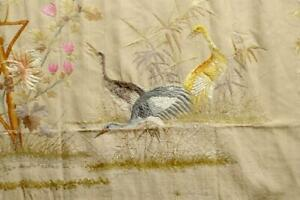 Georgous Rare Japanese Silk Embroidery 19thc Wall Panel Cranes Flowers B