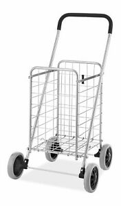 Heavy Duty Utility Durable Folding Shopping Cart Collapsible Sturdy Rolling Whee