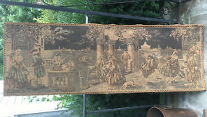Antique Vintage Italian Scene Wall Tapestry 53 X 19 Made In Italy Large