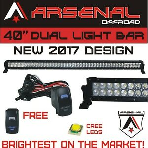 No 1 40 Inch Led Cree Light Bar By Arsenal Offroad 228w Spot Flood Combo Beam