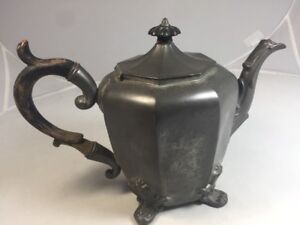 1800s Antique American Pewter Smith Feltman Coffee Tea Urn Pot Albany Ny