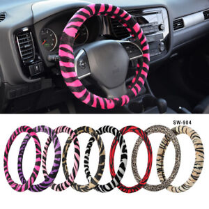 Safari Animal Print Soft Plush Protective Steering Wheel Cover For Car Truck Suv