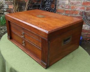 Late Victorian Oak Military Campaign Two Drawer Wellington Chest Lock And Key