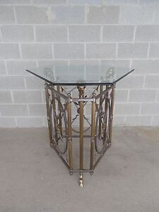 Maison Jansen Style Rams Head Brass Steel Entry Center Table 38 5 H X 35 5 W