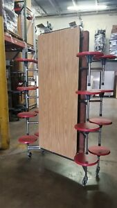Refurbished Mobile Lunch Table Oak Top W 16 Red Stools 12ft Elementary Size