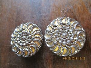 Beautiful Antique Victorian X Lg Gold Disc With Cut Steel Overlay Buttons Qty 2