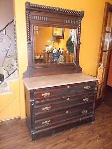 Victorian Eastlake Dresser With Marble Top Mirror 1800s Era Rare