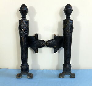 Antique Cast Iron Legs For Fireplace Or Coal Basket Andirons Industrial
